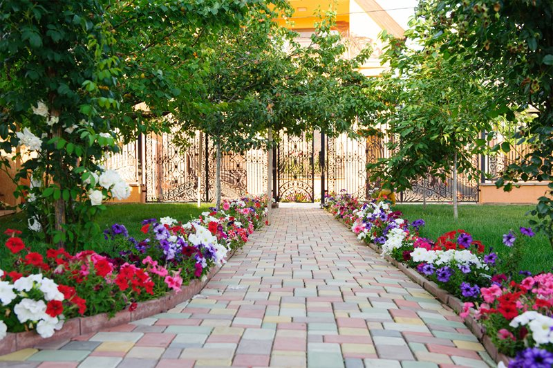 Colorful Paver Walkway, Flower Border Walkway and Path Landscaping Network Calimesa, CA