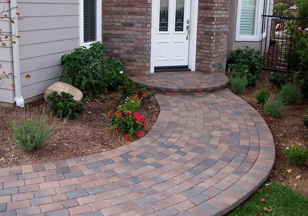 Curved Path, Pavers, Stoop, Running Bond Walkway and Path Genesis Stoneworks Moorpark, CA