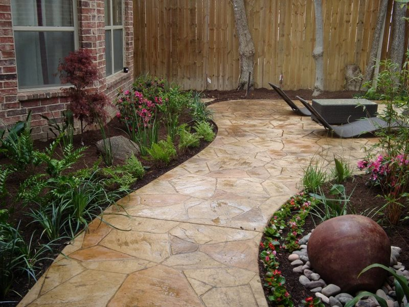 faux flagstone walkwaywalkway and pathsouthwest landscape designdallas