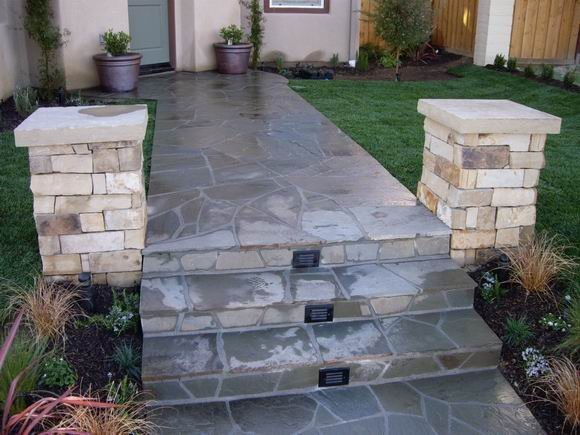 Flagstone Steps And Walkway Walkway and Path Quality Living Landscape San Marcos, CA