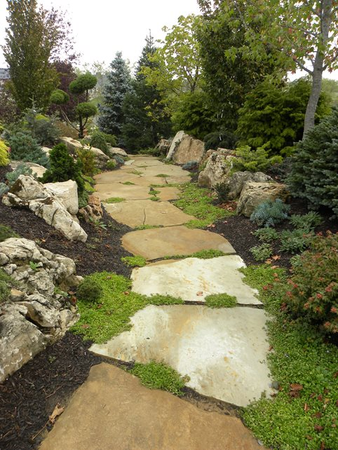 Large Flagstone Slab Walkway Walkway and Path Small's Landscaping Inc Valparaiso, IN