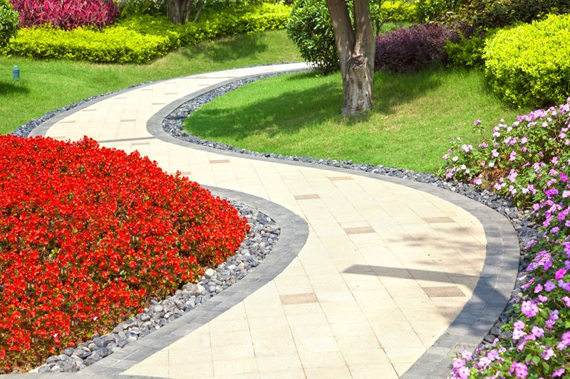 Multi Colored Paver Walkway Walkway and Path Landscaping Network Calimesa, CA