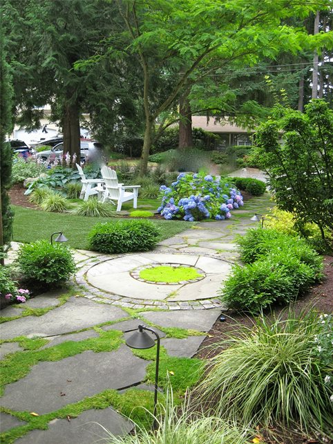Natural, Path, Moss, Stone, Circle Walkway and Path Spring Greenworks Bellevue, WA