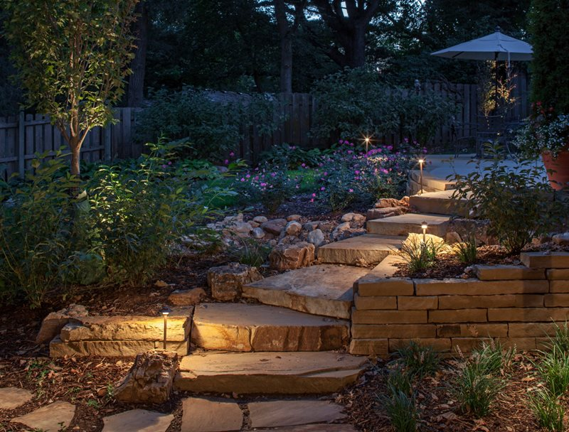 Path Lights, Stone Steps Walkway and Path McKay Landscape Lighting Omaha, NE