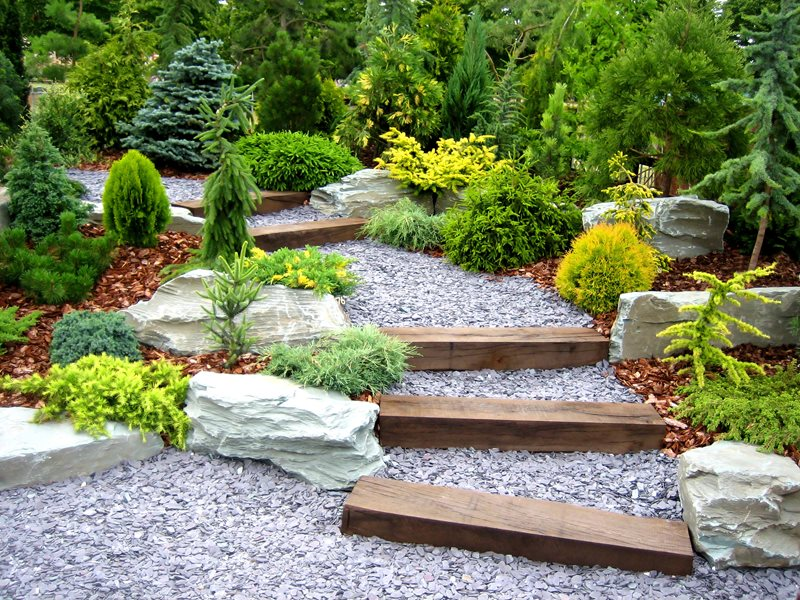 Railroad Tie Walkway, Evergreen Garden Walkway and Path Landscaping Network Calimesa, CA