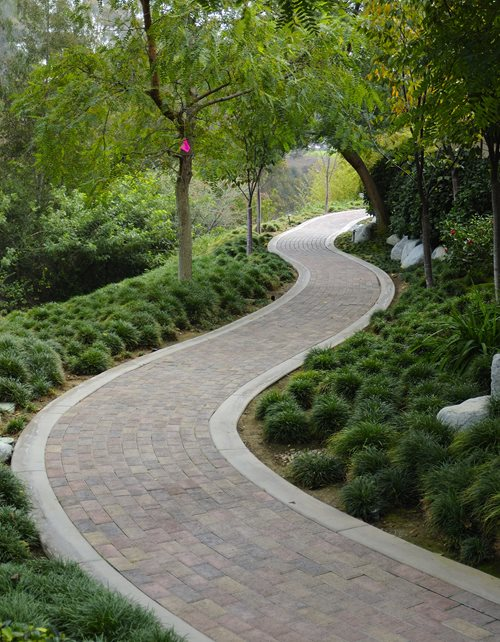 Running Bond Paver Walkway, Concrete Border Walkway and Path Landscaping Network Calimesa, CA
