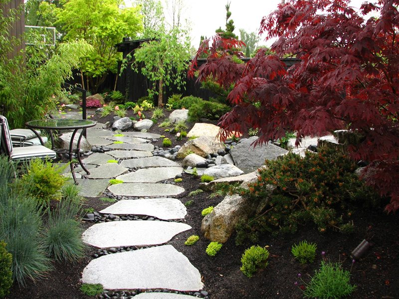 Sliced Boulders, Stone Path Walkway and Path Stock & Hill Landscapes, Inc Lake Stevens, WA