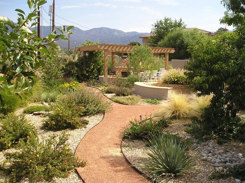 Backyard Xeriscape Garden, Pergola, Fireplace Xeriscape Landscaping Red Twig Studio Albuquerque, NM