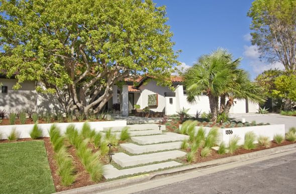 Front, Steps, Grasses, Trees, Concrete Xeriscape Landscaping DC West Construction Inc. Carlsbad, CA