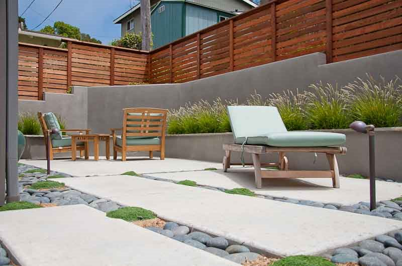 Modern Patio Design, Gray Retaining Wall, Privacy Fence Xeriscape Landscaping Ecotones Landscapes Cambria, CA