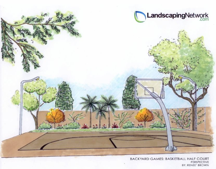 Basketball backyard games landscaping network for Backyard drawing plans