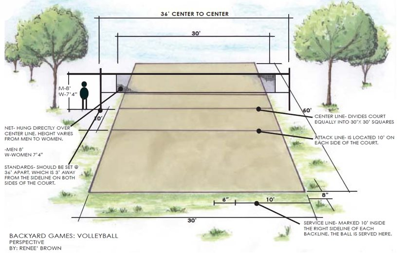 Volleyball court with players sketch