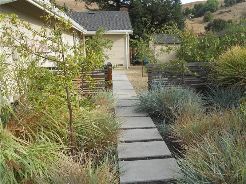 Concrete walkway design landscaping network for Cement garden paths