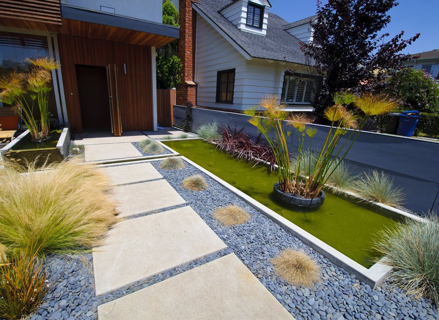 Concrete walkway design landscaping network for Beach garden designs