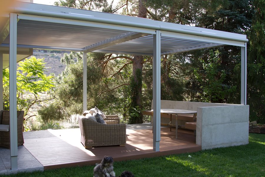 Modern Deck, Shaded Deck Deck Design Breckon Land Design Inc. Garden City,  ID. This Metal Patio Cover ...