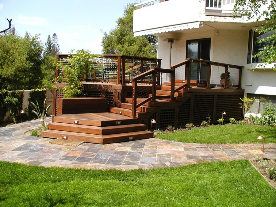 wood deck railing deck design cyprex construction landscapes san jose ca - Home Deck Design