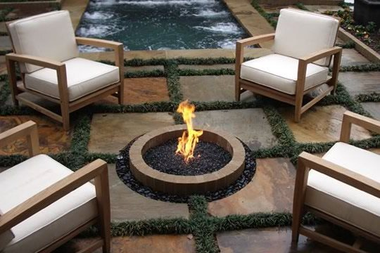 In Ground Fire Pit, Natural Gas Fire Pit Fire Pit Bennett Design U0026  Landscape Atlanta