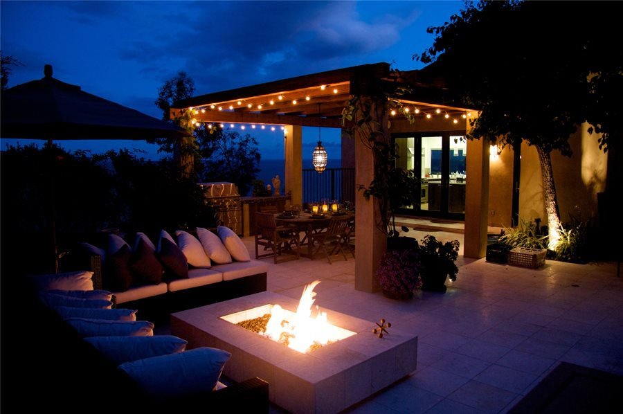 Outdoor Entertaining Night Fire Pit Fiore Design North Hollywood  CAPatio Cover Lighting Ideas   Landscaping Network. Outdoor Covered Patio Lighting Ideas. Home Design Ideas