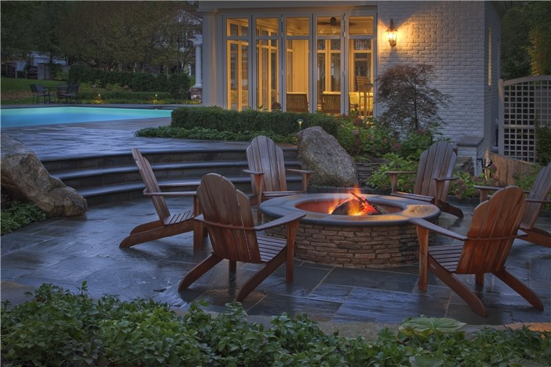 Stone Fire Pit Zaremba And Company Landscape Clarkston Mi