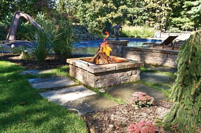 Wood Burning Fire Pit, Square Fire Pit Fire Pit Autumn Leaf Landscape Design  Centerport,
