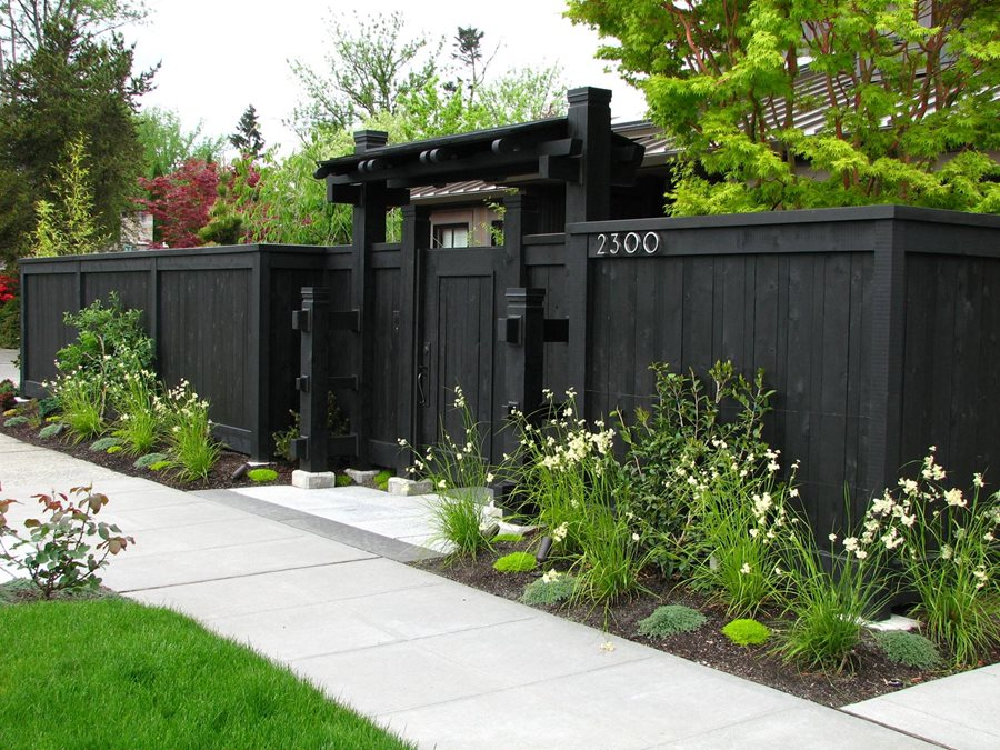 Nice Privacy Fence Ideas For Front Yard Part - 1: Front Yard Fence, Privacy Fence, Dark Fence Gates And Fencing Stock U0026 Hill  Landscapes