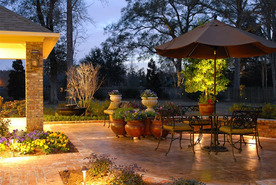 patio lighting mediterranean landscaping angelos lawn scape of louisiana inc baton rouge la