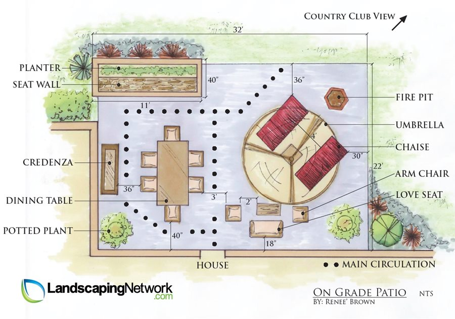 Patio layout ideas landscaping network for How to plan backyard landscaping
