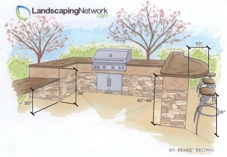 Sizing options for an outdoor kitchen landscaping network for Outdoor kitchen cad drawings