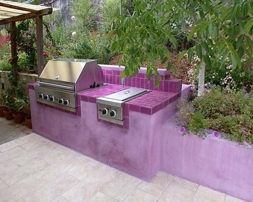 Purple Stucco Outdoor Kitchen