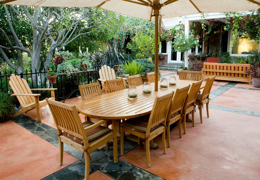 Stained Concrete Patio, Teak Patio Furniture Backyard Landscaping  Landscaping Network Calimesa, CA