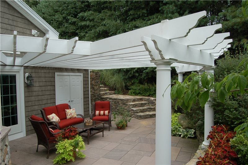 Exceptional Attached White Patio Cover Pergola And Patio Cover Fieldstone Design  Leominster, MA
