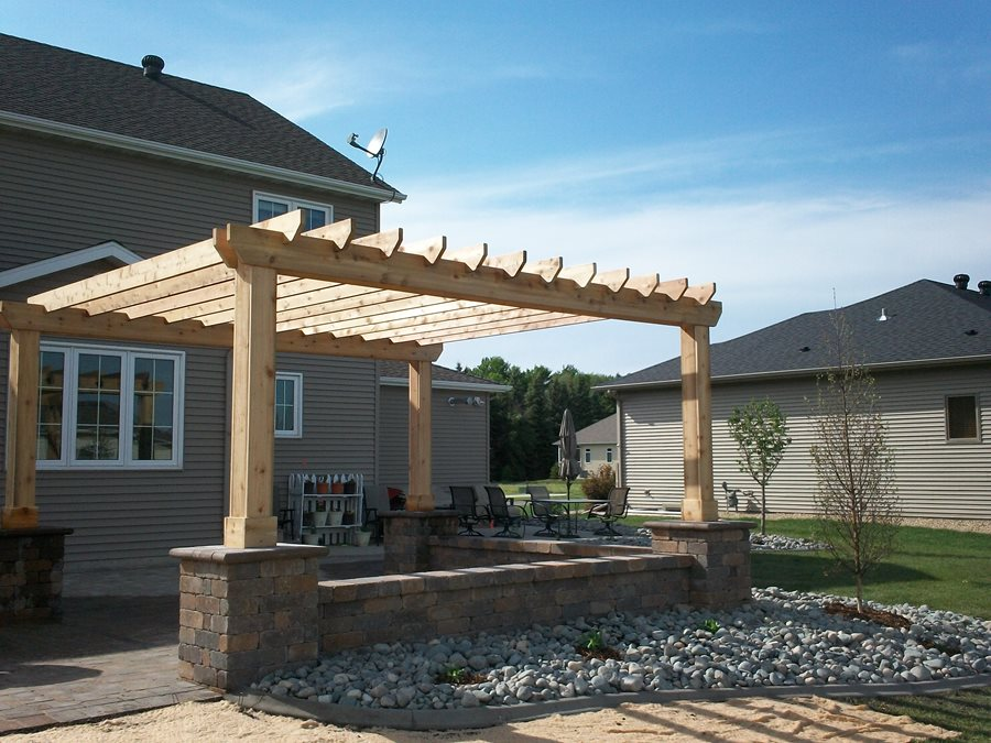 Cedar Patio Cover, Block Columns, Unfinished Patio Cover Pergola And Patio  Cover Signature Landscapes