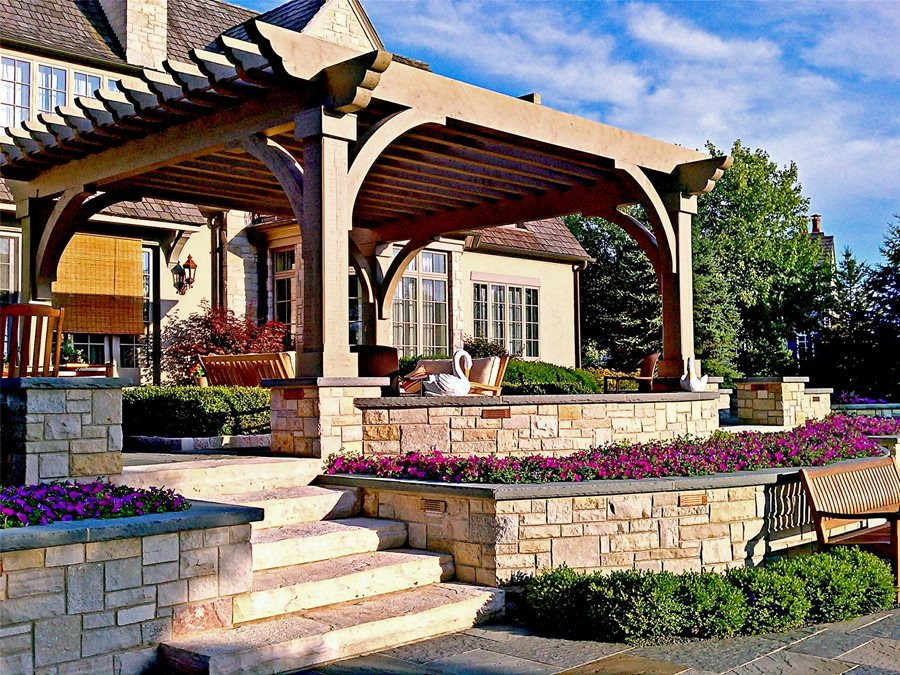 Custom, Wood, Pergola Pergola And Patio Cover Romani Landscape Architecture  Glencoe, IL
