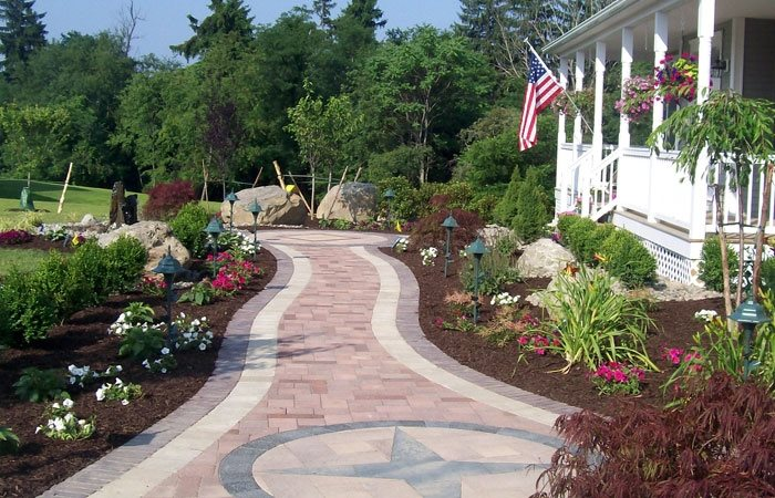 paver compass design pergola and patio cover lehigh lawn landscaping poughkeepsie ny - Paver Walkway Design Ideas
