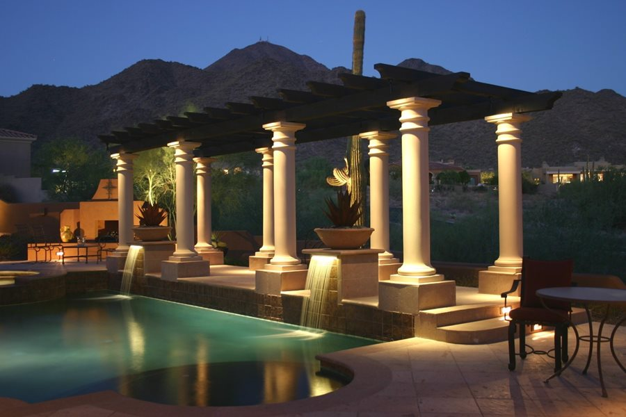Pergola columns lighting pergola and patio cover jsl landscape llc sedona az