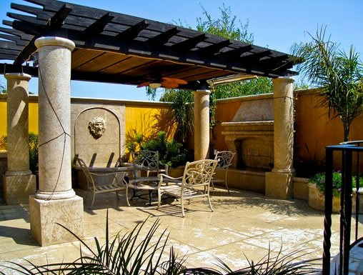 Pergola Columns Mediterranean Patio And Cover Landplan S Landscaping Pleasanton