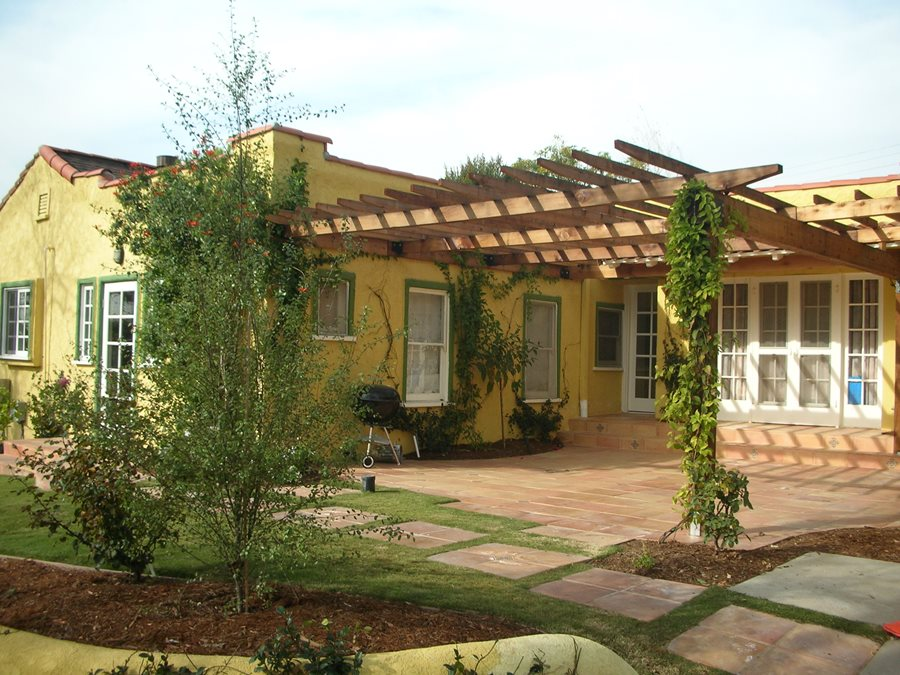 spanish house wooden backyard patio cover pergola and patio cover stout design build los angeles