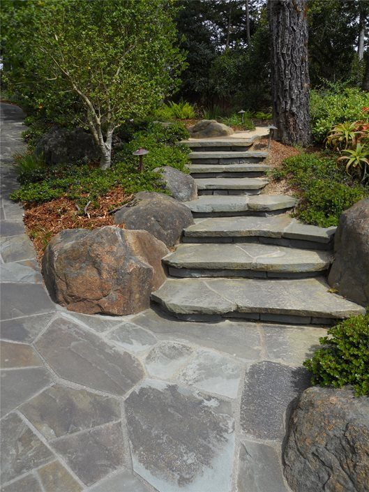 Flagstone step designs landscaping network for Pictures of stone steps