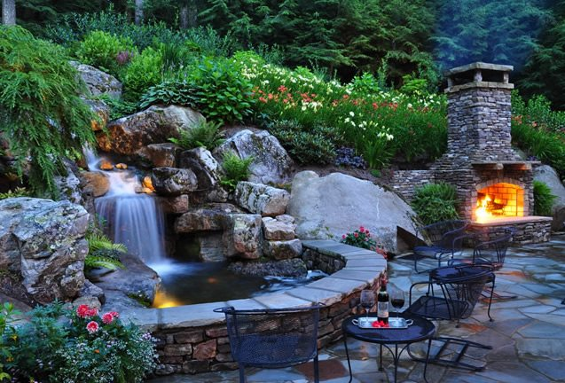 backyard waterfall waterfall lighting pond and waterfall greenleaf services inc linville nc - Garden Waterfalls