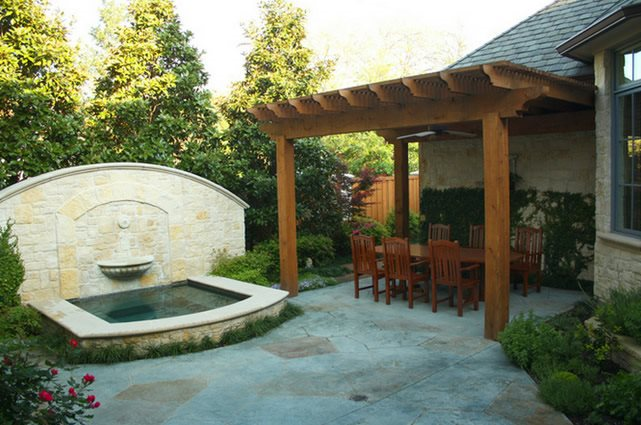 Fountain, Textured Concrete Pond And Waterfall Bonick Landscaping Dallas, TX