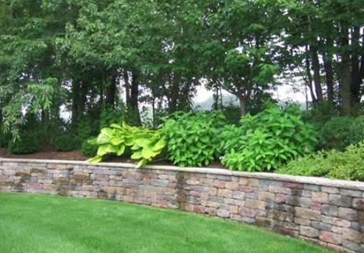 block retaining wall retaining and landscape wall cipriano landscape design mahwah nj - Landscape Design Retaining Wall Ideas