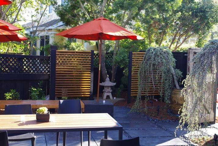 Asian, Patio, Stone Lantern, Umbrella Shepard Design Landscape Architecture  Greenbrae, CA
