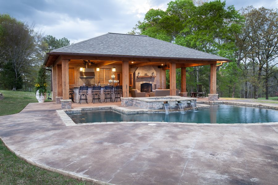 Backyard cabana design landscaping network for Pool house plans