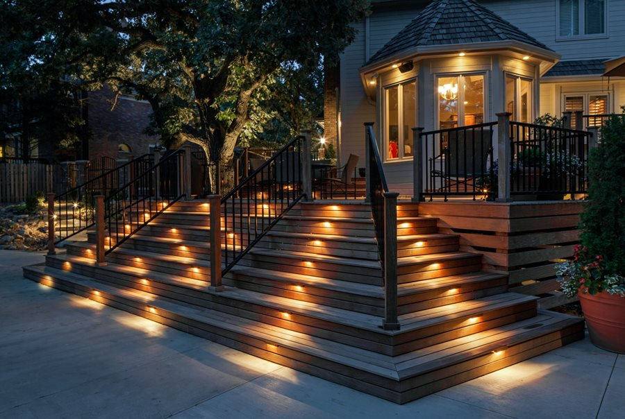 Deck lighting step lights mckay landscape lighting omaha ne