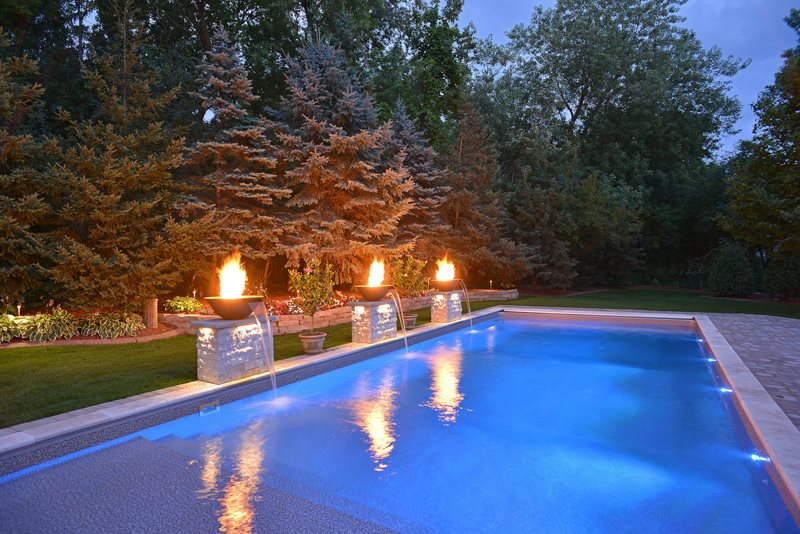 Fire and water elements landscaping network - Pool fire bowls ...