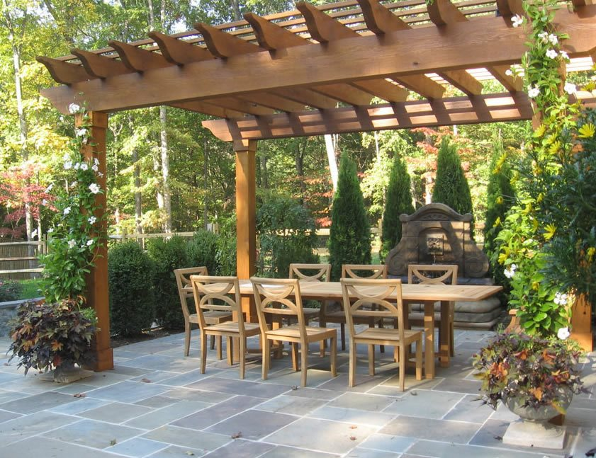 flagstone patio gray backyard landscaping sisson landscapes great falls va - Brick Stone Patio Designs