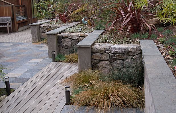 garden walls materials stone stucco huettl landscape architecture walnut creek ca - Retaining Wall Design Ideas