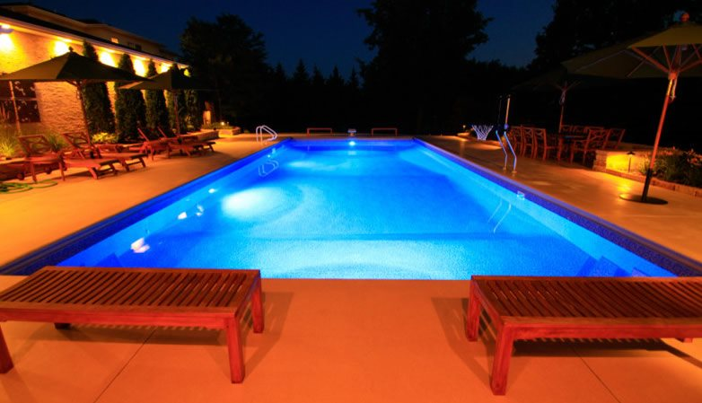 Lighted Pool Deck Prestige Pools St Paul Mn