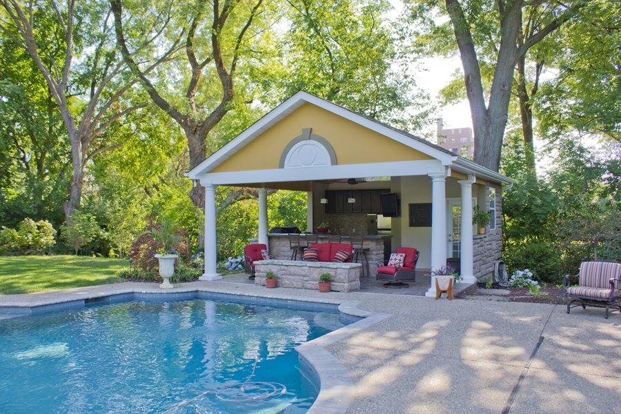 Pool houses cabanas landscaping network for Small pool house with bathroom