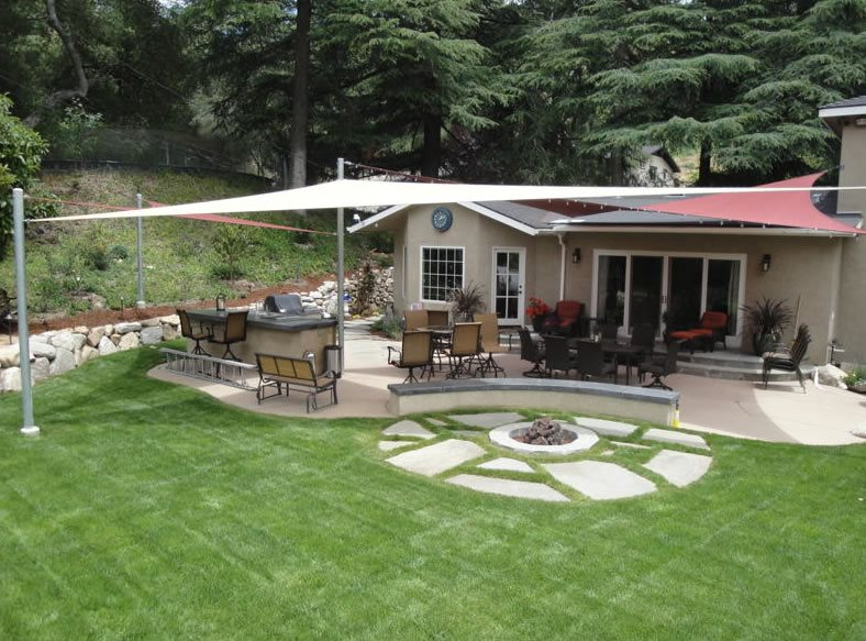 backyard shade sails  landscaping network, Backyard Ideas